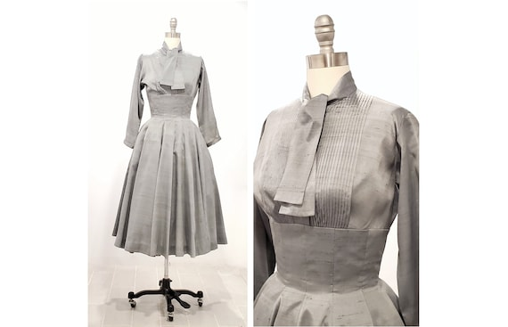 1950s dove gray fit and flare silk dress | 50s full skirt pintuck dress | xsmall