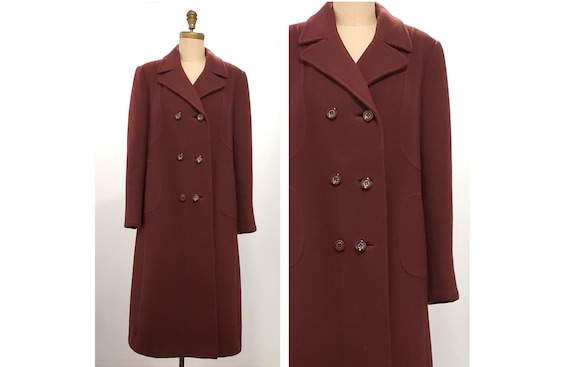 Vintage 1980s Classic style earthy wine virgin wool coat | 80s double breasted long coat w doublelure lining