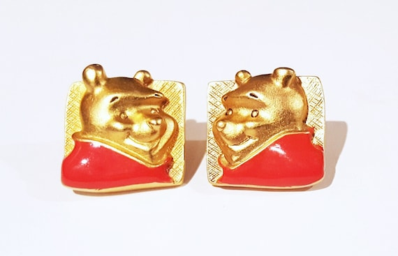 Vintage Disney themed Winnie the Pooh gold tone red shirt pierced earrings
