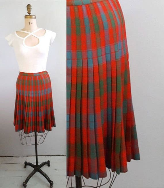 1960s pleated skirt | 60s wool skirt in red, blue green size small