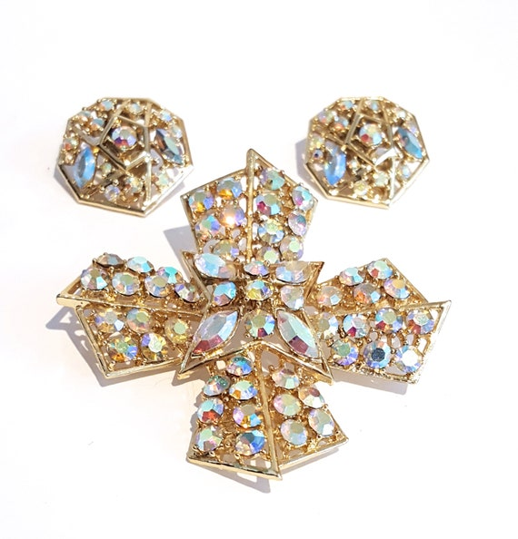 1950s signed Weiss aurora borealis set | 50s Maltese cross brooch and clip on earrings