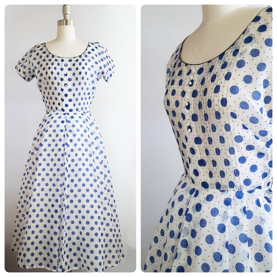 1950s sheer blue and white polka dot dress | 50s L'Aiglon full skirt day dress size xsmall to small