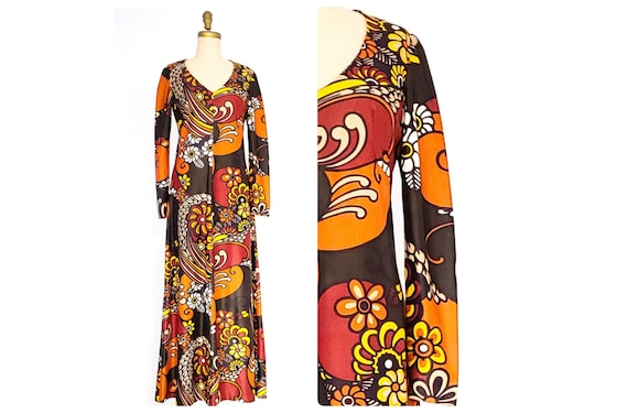 1960s 1970s Peter Max style graphic print maxi dress | 60s 70s pop art psychedelic print dress