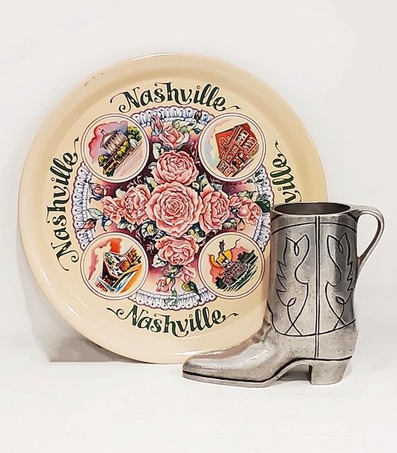 Vintage Nashville souvenir duo a litho tin plate and pewter western boot | 70s Nashville souvenirs