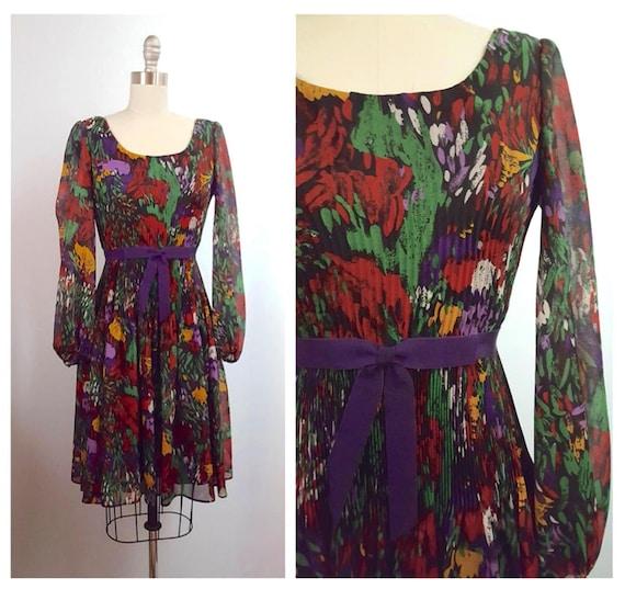 1960s jewel tone floral print dress | 60s dress with accordion pleat size xsmall