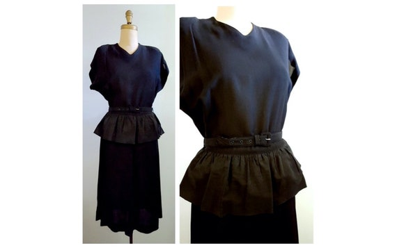 1940s black rayon peplum dress | 40s cocktail dress size medium