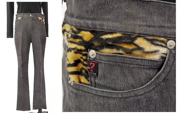 Retro pre-washed gray black Guess jeans | animal print embellished designer jeans | size 32
