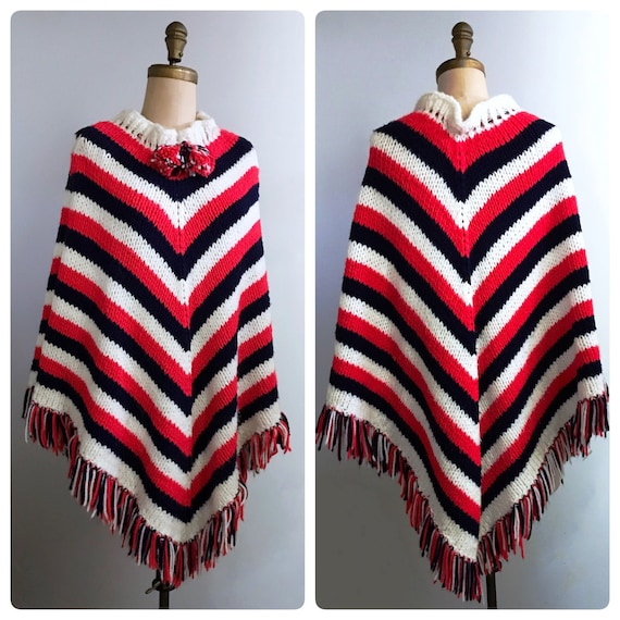 1970s red white blue poncho   70s boho sweater cap