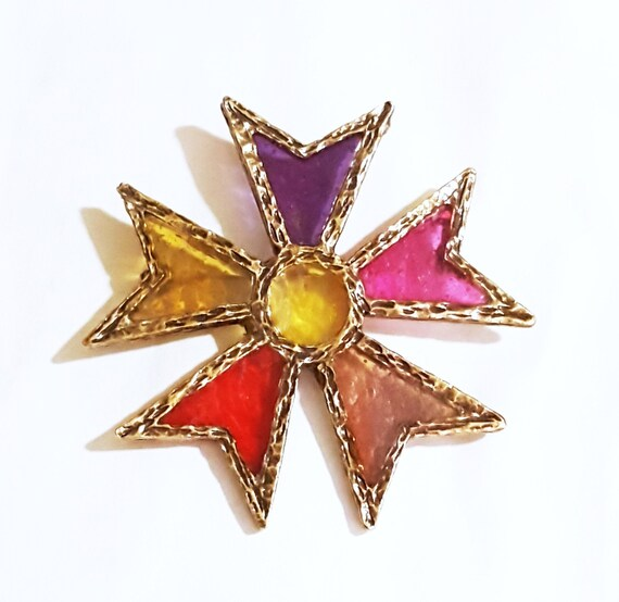 Groovy 1970s Stained Glass Maltese cross brooch