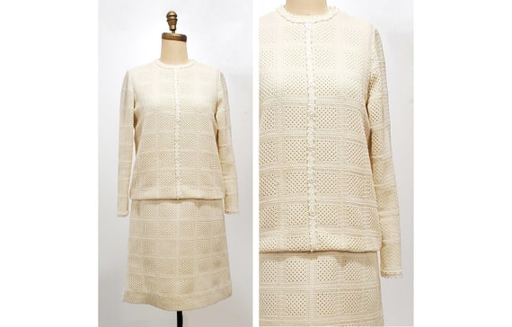 1960s ivory knit dress | 60s mod dress | size medium