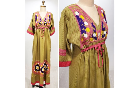1970s cotton hand printed embroidery & crocheted embellished hippie boho prairie maxi dress Fits M - L