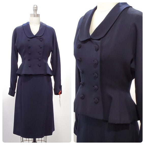 1940s 2 piece navy wool gabardine suit | 40s fitted jacket with peplum and a-line skirt | size xsmall to small