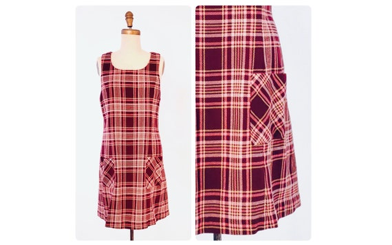 1960s burgundy wine knit jumper with pink and beige plaid   60s mod dress size medium