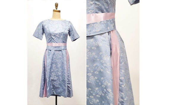 1960s blue satin floral brocade with pink ribbon sash and bow | 60S party dress | size s-m
