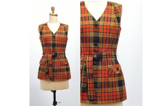 Vintage 1970s tartan plaid vest | 70s Highland Queen wool vest | size medium