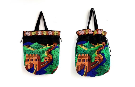 1960s Game of Thrones style Great Wall of China beaded draw string tote style handbag