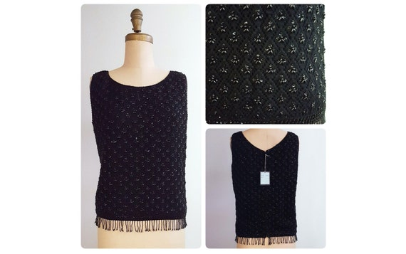 1960s sleeveless black wool beaded sweater | 60s beaded shell | New Old Stock NOS