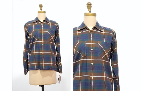 1960s plaid shirt | 60s earth tone plaid print button front shirt size medium