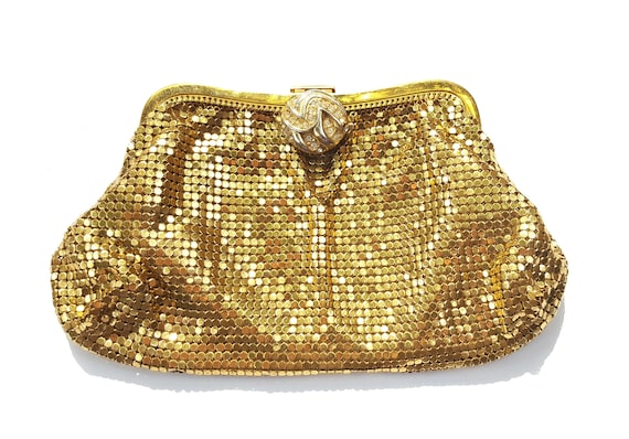 Enter with a statement | Whiting and Davis Mesh Clutch Handbag Model 2918 w Rhinestone button clasp