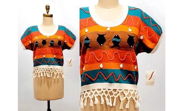 Vintage 1980s fringed sweater | 80s colourful cotton cropped sweater | size small-medium