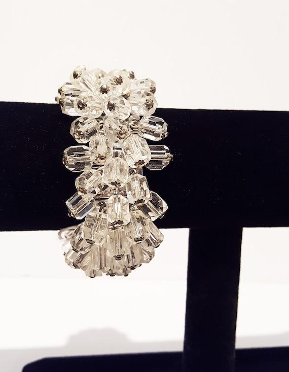 Chunky mid century modernest multi crystal bracelet | vintage 1960s geometric cubist adjustable bracelet