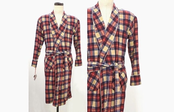 Vintage 1970s plaid 100% cotton flannel robe