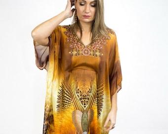 Dress, animal print,  kaftan dress, maxi dress, crystal embellished, gift for women, bohemian, boho chic, plus size clothing, beach kaftan.