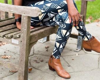 ef34e1a647a8 Mud Cloth African Print Leggings - Cream, Black, and White Mudcloth