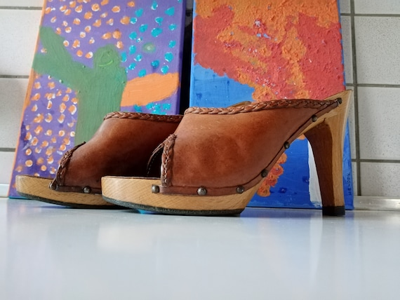 Hoof mules clogs 70s leather high wood heel 38