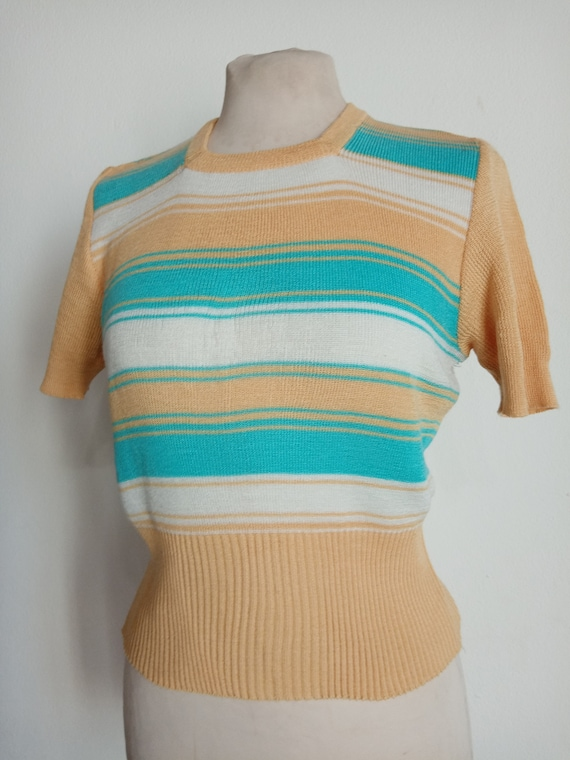 Sweater stripes woman 70s rockabilly
