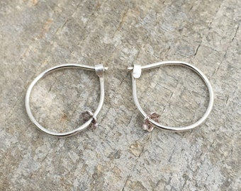 Silver hoops with flower pendant, Silver earrings