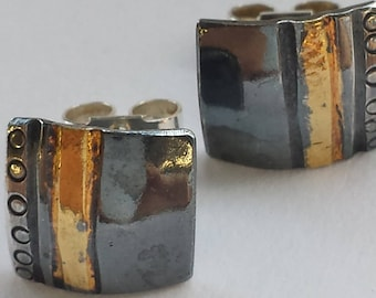 Jewellert. Square, domed, sterling silver, stud earrings. Keum Boo - 24ct gold. Oxidised with patina. Perfect Easter Gift. Anniversary