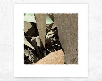 Art Print of a Leaf, Green unique giclee print of leaves, small rustic textured landscape print, genuine australian art country decor