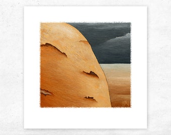 Orange Toned Abstract Art Print. Small Stylised Modern Landscape Print. Limited edition Archival Quality - perfect gift for the Art Lover
