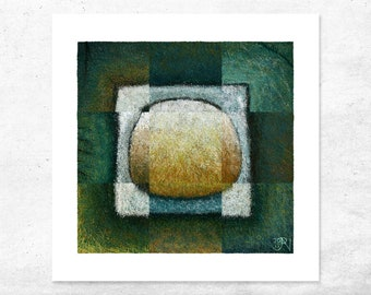 Abstract Art Print with rich Green and Blue Hues. Modern, Archival Quality, Unique, Limited Edition - perfect gift for the Art Loving Friend