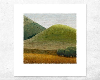 Green lush rustic countryside art print, Australian abstract painting art print. Country bedroom rural landscape wall art decor