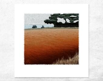 Australian landscape art print, bold color australian giclee art print painting, tasmania art print, limited edition art, contemporary art,