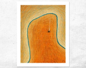 Burnt Orange Art, Australian Limited Edition Art Print, Contemporary Giclee Print, Aerial landscape outback creek and camp fire, rustic art