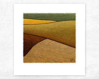 Abstract Landscape Art Print. Archival giclee limited edition print on quality textured art paper. modern, contemporary decor design