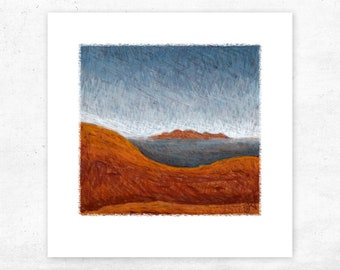 Olgas from Uluru art print, desert sunrise landscape print, Ayers Rock outback Australia wall art, small giclee abstract print