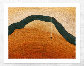 Abstract limited edition art print of an outback camp fire and creek. Love camping? Then this is your ideal modern art print!