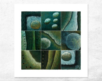 Abstract Giclee Art Print, Limited edition contemporary design, Dark blue and green abstract shapes and texture, Modern unique wall art