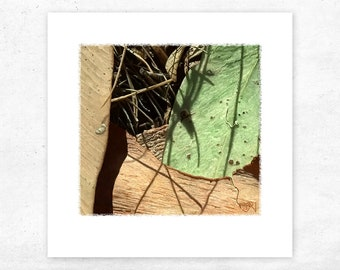 Botanical Art Print of a Leaves and Twigs, Small green unique giclee print, Small rustic textured landscape art, Landscape art decor
