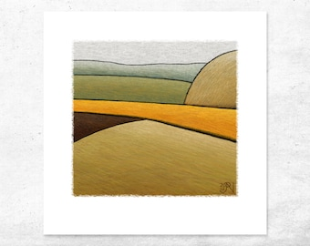 Abstract Landscape Art Print, Rural Life Wall Art, Farmland Home Decor, Country Farmhouse Style Gift, Unique Modern Small Giclee Print