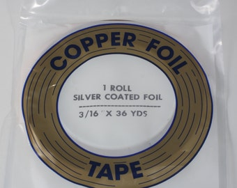 Stained Glass Tools and Supplies -  Silver Backed 3/16 Copper Foil