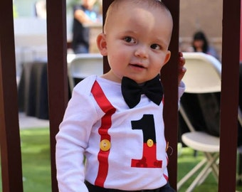 Mickey First Birthday Bodysuit, Boys 1st Birthday, Tie and Suspenders, First Birthday Outfit, Boys Birthday Bodysuit, 1st Birthday Bodysuit