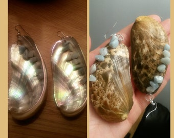 Mother of Pearl Shells + Amazonite Earrings