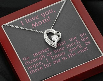 Thank you mom necklace, love forever daughter son gift to mother, I love you message card, neverending family, always together gift for her