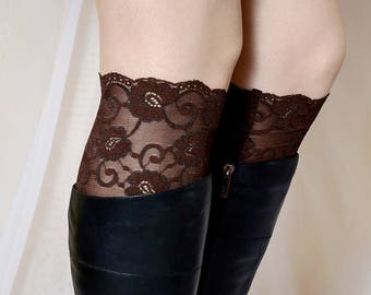 """Lace boot cuff socks, seal brown, sheer knee high boot cuffs, 6.5"""" inches tall floral gift ideas for women"""