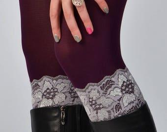 "Womens boot cuffs, flower pattern, sheer boot cuffs, custom size 7"" inches long,"